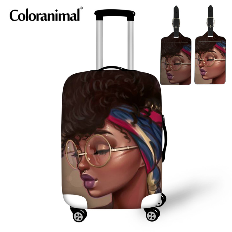 Coloranimal Cute Black Art African Gir 3pcs Set Luggage Protective Covers Apply To 18-30 Inch Dust Elastic Suitcase Case Bag