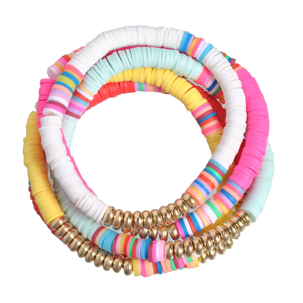 5 pçs colorido fatiado argila pulseiras artesanal arco-íris polímero elástico corda boho frisado pulseira definir verão praia surf empilhável