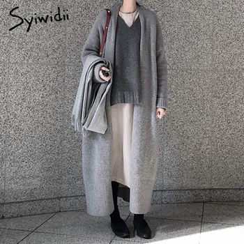 syiwidii new long cardigan women elegant ladies loose ribbed knitted oversize sweaters fashion long coat