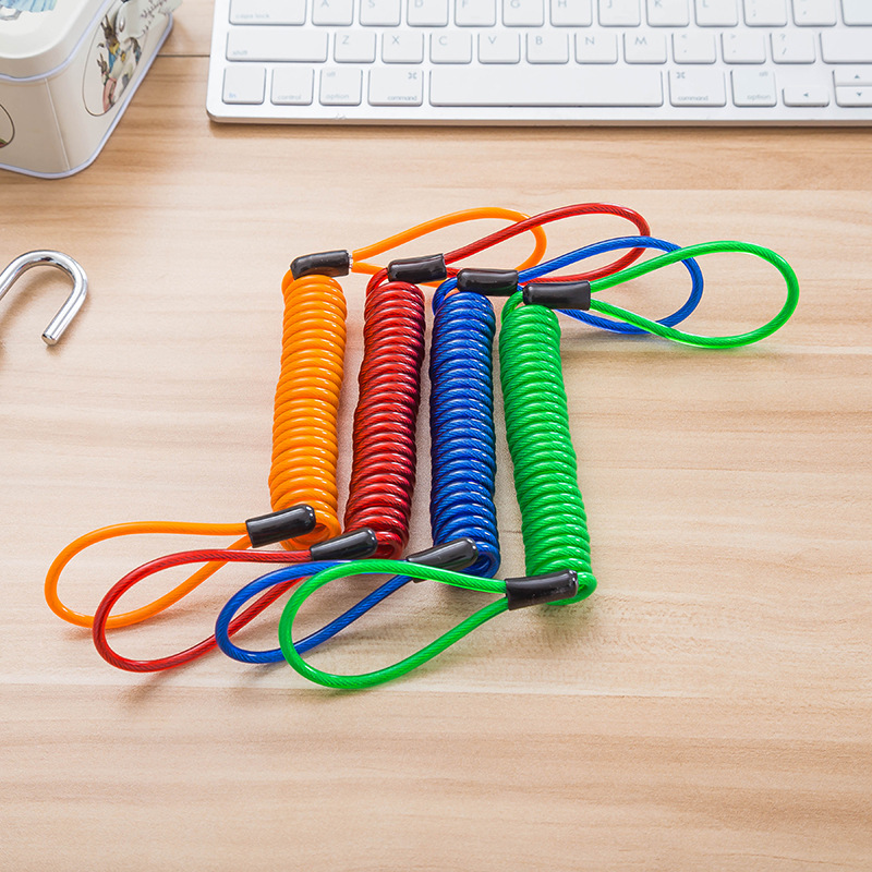 Cross Border Amazon 1.5m Long Wire Lanyard Spring-like Bag Plastic Fine Steel Wire Cable Clothes Drying Lanyard Anti-Theft Remin