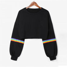 Womens Long Sleeve Striped Crop Rainbow Stripes Short Sweatshirt Jumper Black Pullover Top Sudadera Womens Sweatshirts Pullover(China)