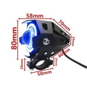 Image 2 - 125W Moto U7 Led Koplamp Spotlight Led Driving Auto Fog Werk Drl U5 Blauw Angel Eyes Waterdichte Motor hoofd Lamp