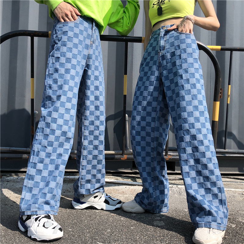 SHENGPALAE 2020 New Autumn Winter Loose Big Size Trousers High Waist Personality Plaid Printing Women Wide Leg Pants FU055
