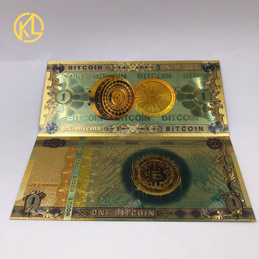 1pc Colorful Gold Plated banknot ONE Hundred BITCOIN plastic Money Bit Coin BTC Fake Money Souvenir Home Decoration-4