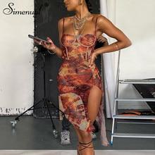 Maille Simenual voir à travers imprimé Sexy robes de soirée chaudes femmes sangle côté fendu creux moulante Mini robe Clubwear maigre