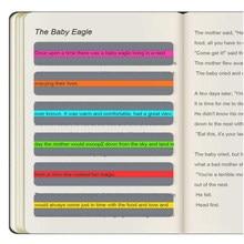8 pçs/pçs/set guia de leitura tiras claras highligh sobreposições coloridas marcadores criativo ler tiras para o estudo artical estudante