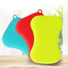 1 pçs escova de limpeza da cozinha escova de lavagem de louça de silicone purificador de lavagem prato esponja escovas pote pan frutas vegetais cleanin n3a9