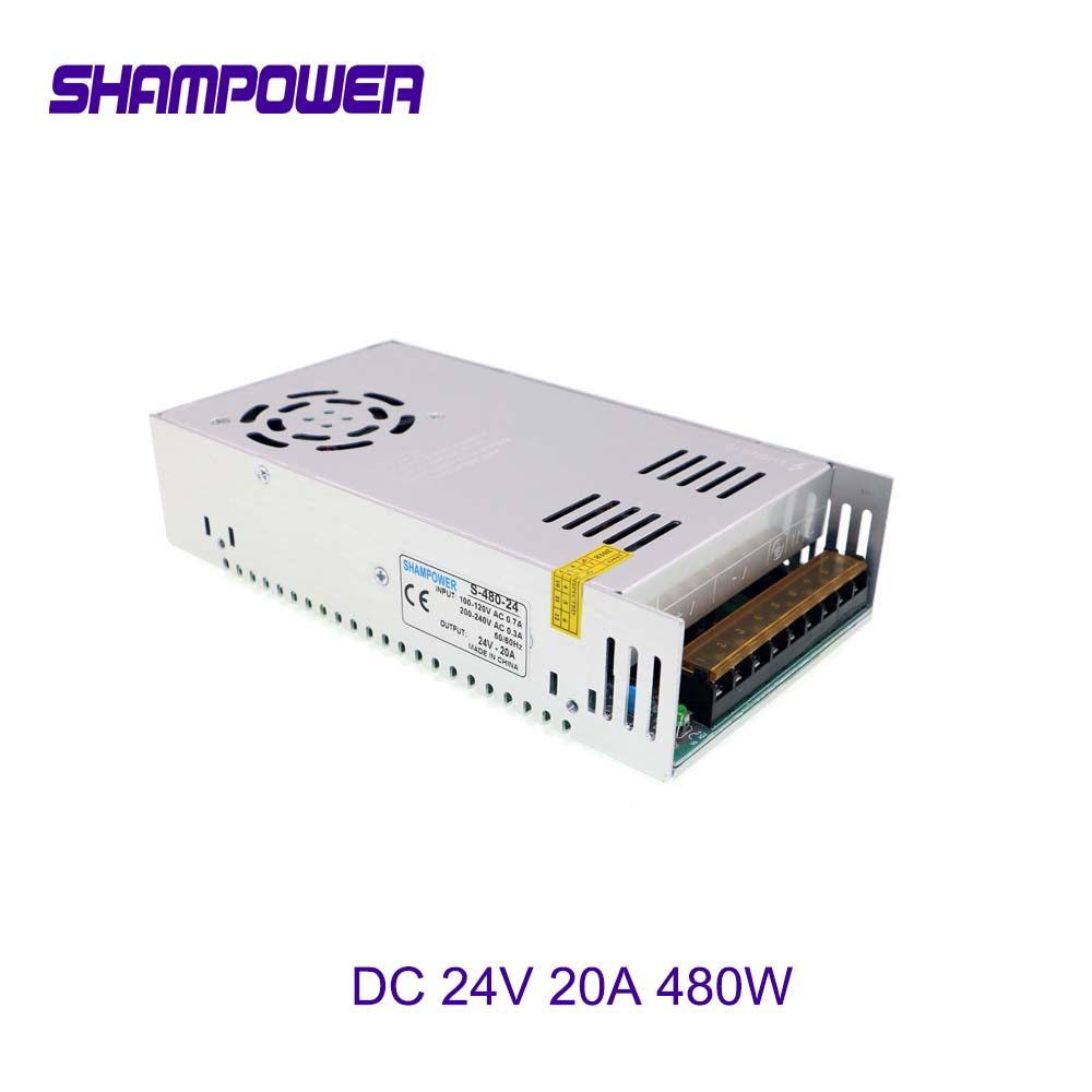 DC 24V 20A 480W Switching Power Supply Driver Transformers AC110V220V To DC 24V SMPS For Led Strip Modules Light CCTV 3D Printer
