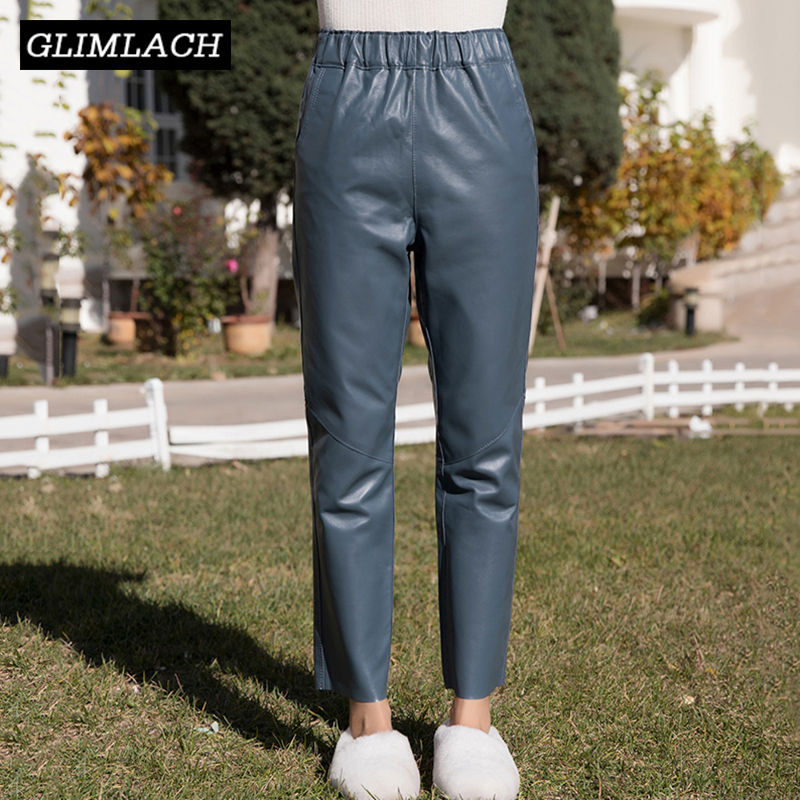 2019 New Female Ankle Length Sheepskin Leather Pants Fashion Casual Genuine Real Leather Trousers Women Streetwear Harem Pants