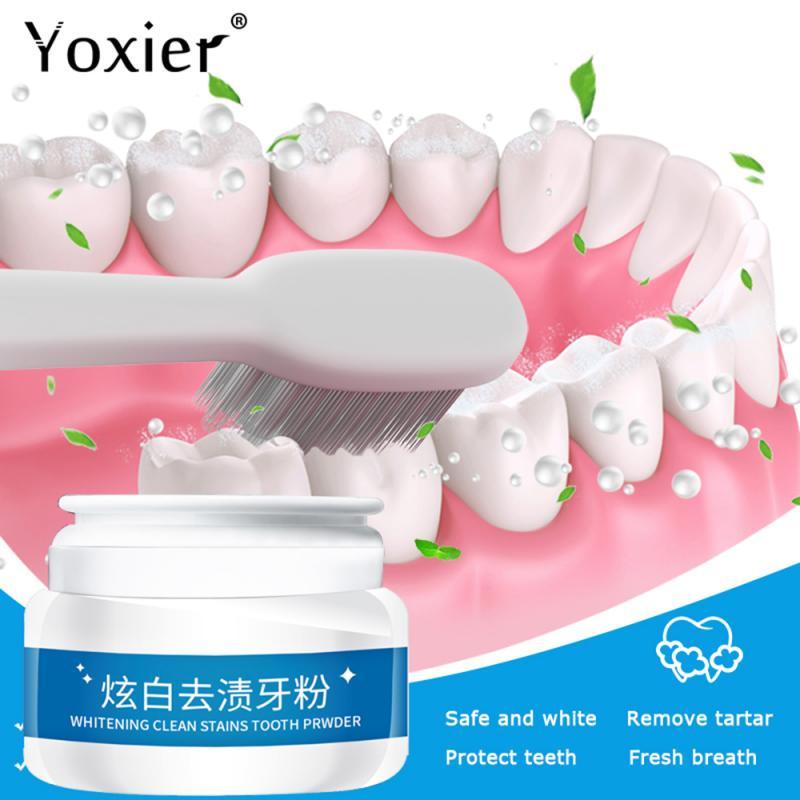 Dentes branqueamento em pó dentífrico limpo manchas 30g dentes brilhantes higiene oral limpeza dos dentes respiração fresca dentes higiene oral cuidados