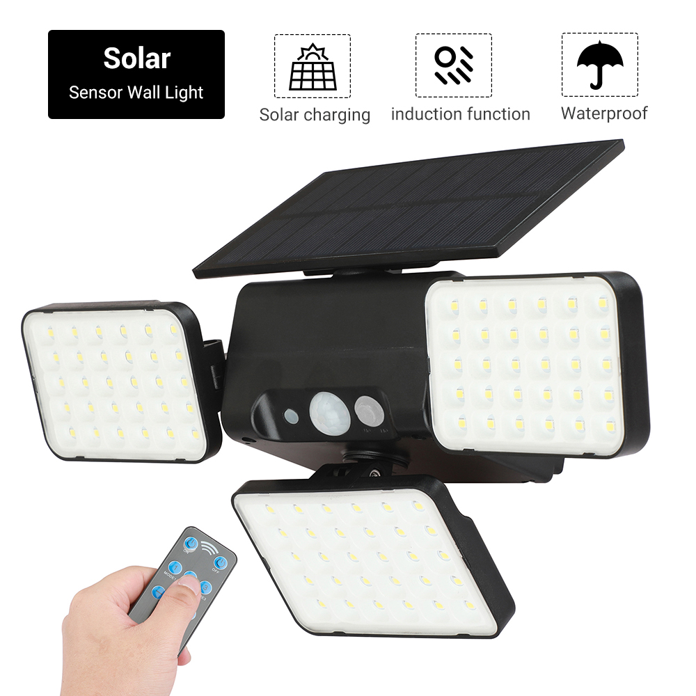 BORUiT 90 LED Solar Light Outdoor Solar Lamp Powered Sunlight Waterproof PIR Motion Sensor Street Light for Garden Decoration
