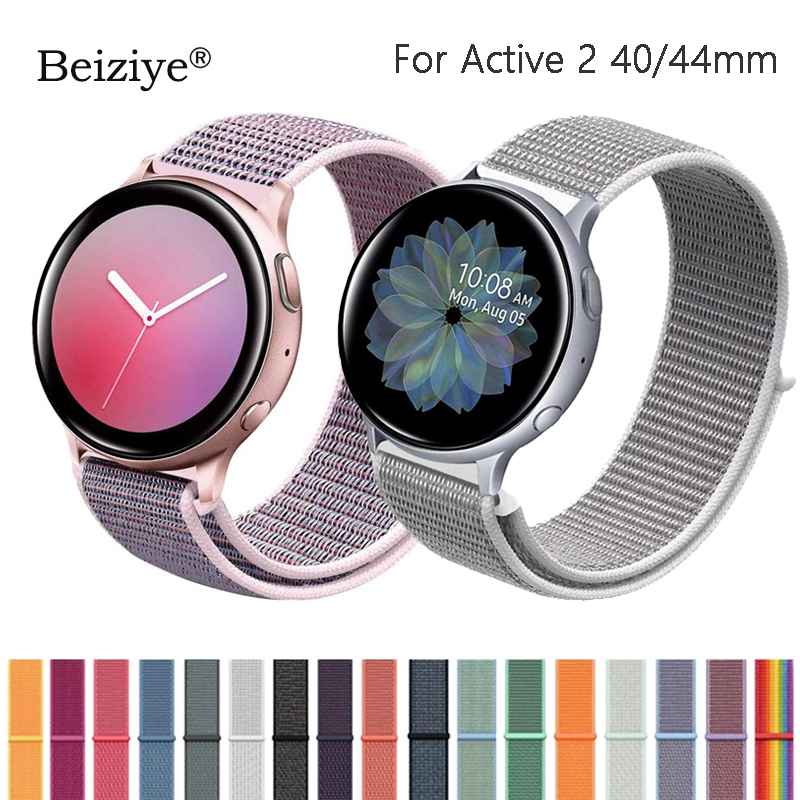20mm Nylon Strap For Samsung Galaxy Watch Active 2 40mm 44mm Soft Breathable Replacement Band Sport Loop Watchband For Active2