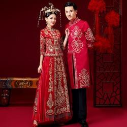 Rouge style chinois mariage robe de mariée de haute qualité Embroid chargement hommes et femmes traditionnel Hanfu broderie ancien costume