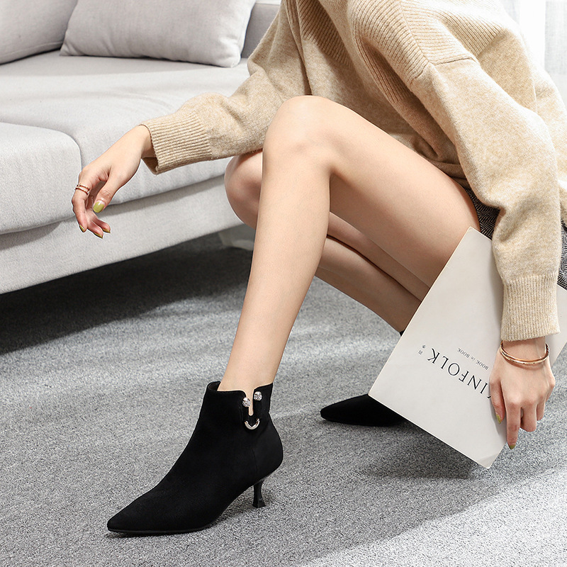 SWYIVY Sexy Thin Heel Pumps Shoes Women Ankle Boots Black 2019 New Female Sexy Pointed Toe Casual Shoes OL Snow Boots For Women