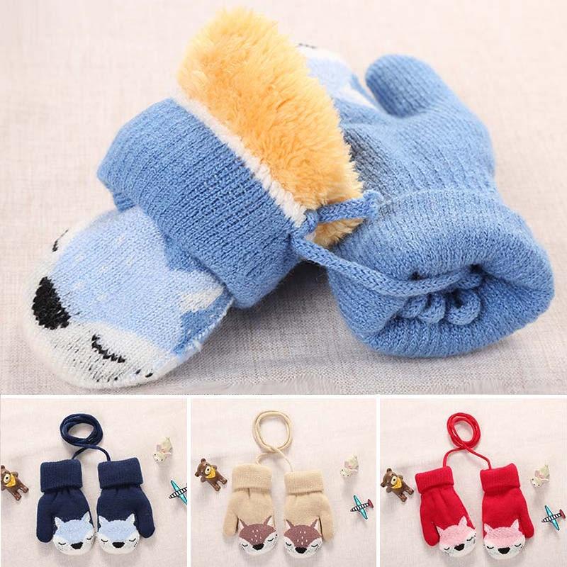 Мультяшные лисы, детские варежки, зимние теплые детские перчатки для маленьких девочек, вязаные детские варежки для прорезывания зубов