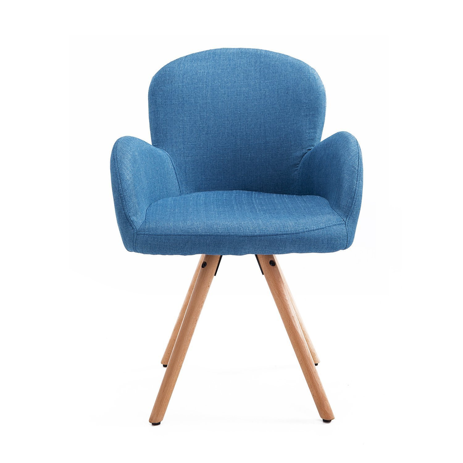 HOMCOM Chair Armchair Modern Design Wooden Beech 55x53x81 Cm Blue