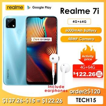 Realme 7i mais novo smartphones 6.5 Polegada hd helio g85 octa núcleo 4gb 64gb 6000mah 48mp ai quad câmera android 10 lte telefones celulares 1