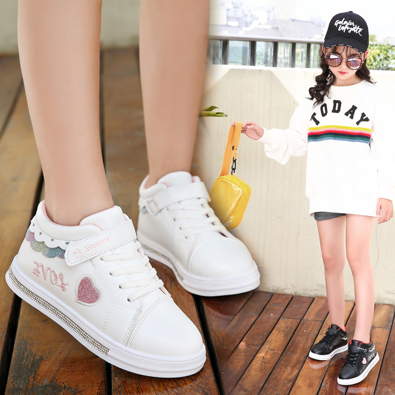 Kids Shoes School PU Tennis Shoes Lovely Girls Princess Casual Shoes Children Running Sneakers Fashion Sequins Black/pink/white