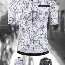 Дышащая белая велосипедная Джерси от KEMALOCE в стиле унисекс с изображением мультяшного кота, Весенняя Экологически чистая велосипедная одеж...