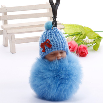 Cute Sleeping Baby Plush Doll Kids Baby Toy Xmas Gift Fur Ball Key Chain Pendant Girl Bag Ornaments Easter Decor Birthday Favors