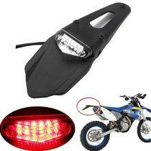 Motorcycle Tail Light Red Clear Trail Bike Fender LED Brake Stop Rear Taillight Motorbike Dirt