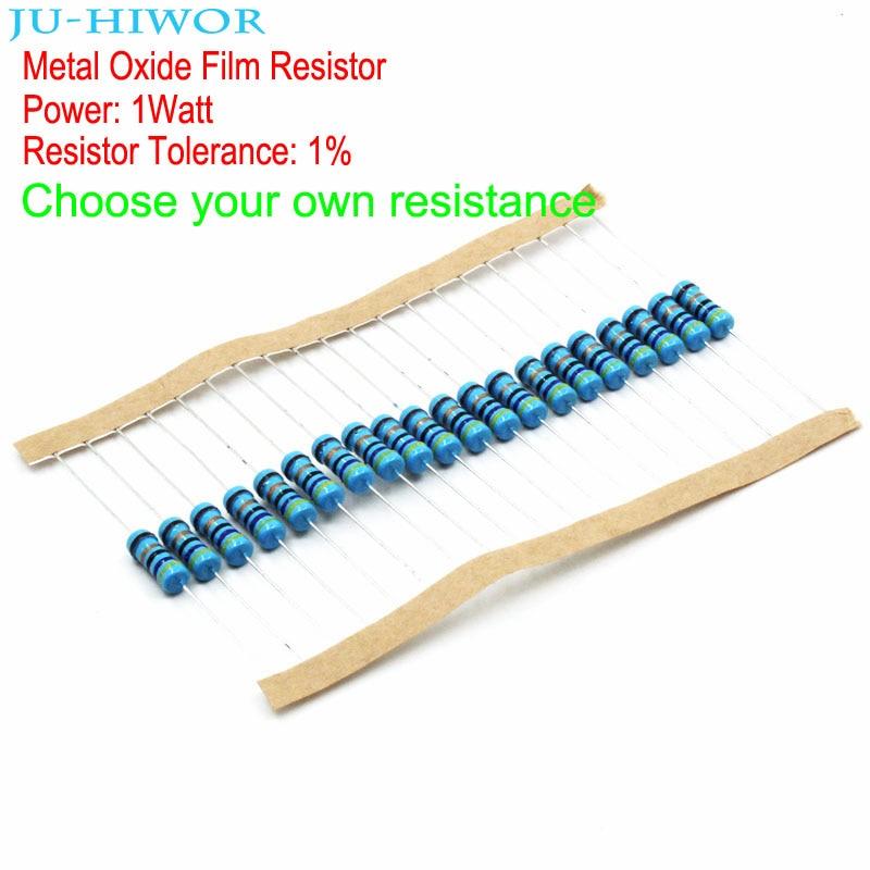 20pcs Metal Oxide Film Resistor 1W 1% Tolerance 0.1-0.91 1-910 1K-910K Ohm 100 200 300 1K 2K 3K 1M Ohm Resistors
