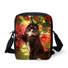 HaoYun Fashion Womens Messenger Bags Black Cats Pattern Flower Animal Prints Girls Crossbody Kids Mini Flaps Purse