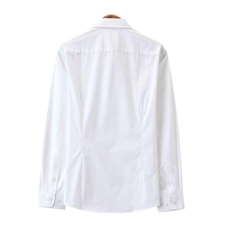 남성 비즈니스 캐주얼 긴팔 셔츠 화이트 스마트 남성 사회 복장 셔츠 플러스 슬림 맞는 캐주얼 셔츠 탑스 spring2020