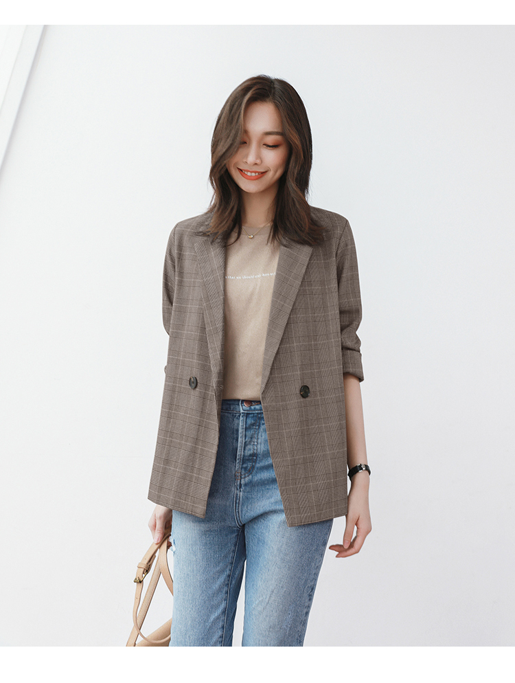 Korean Plaid Retro Women Suit Jacket Brown Stylish Casual Jacket Blazer Negro Mujer Office Women's Clothing Plus Size MM60NXZ