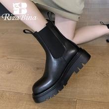 Thick Heel Winter Shoes Short-Boots Platform Office Fashion Women Size-33-43 Plush RIZABINA