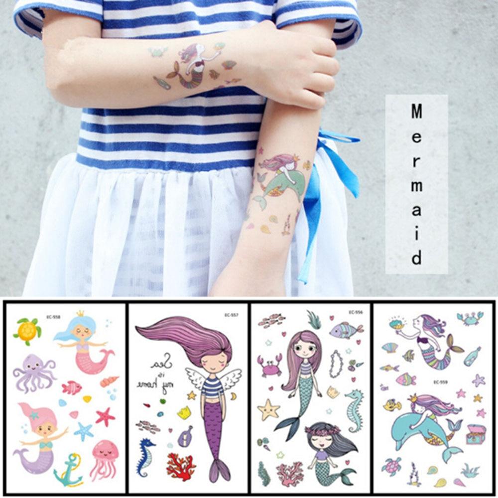 12*7.5cm Temporary Tattoo Sticker Fashion Fake Tatoo Mermaid Flash Tatto Waterproof Small Body Art For Children 2020
