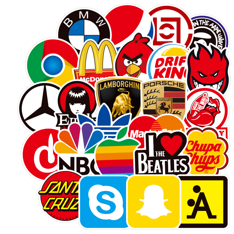 100 PCS Skateboard Fashion Brand Logo Waterproof Sticker For Luggage Car Guaitar Skateboard Phone Laptop Bicycle Stickers