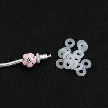 Anel elástico translúcido sílica gel clipes encantos caber pulseira pandora original para as mulheres de borracha segurança rolha contas diy jóias