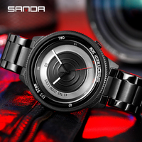 Business Männer Uhren 30M Wasserdichte Uhr Edelstahl Armbanduhr SANDA Top Marke Rad Serie Quarzuhr Relogio Masculino