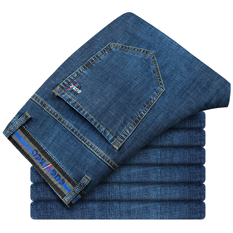 Spring Autumn 2021 Men's Smart Jeans Business Fashion Straight Regular Blue Stretch Denim Trousers Classic Men Plus Size 29-40