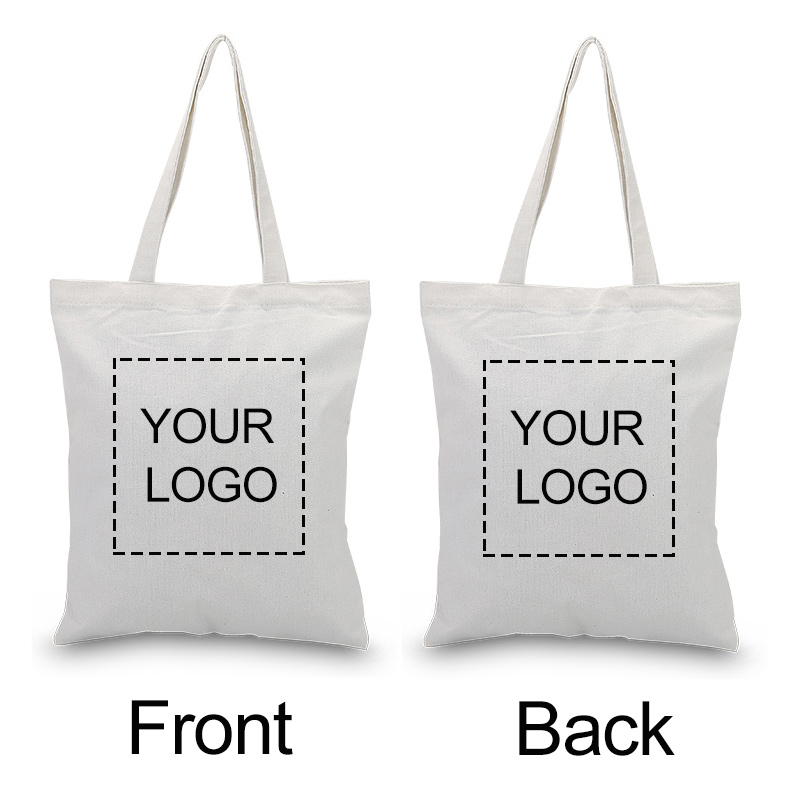 Custom Canvas Tote Bag Double-sided Print Logo Text Daily Use Handbag Eco Ecologicas Reusable Shopping Bag Recycle Large Capacit