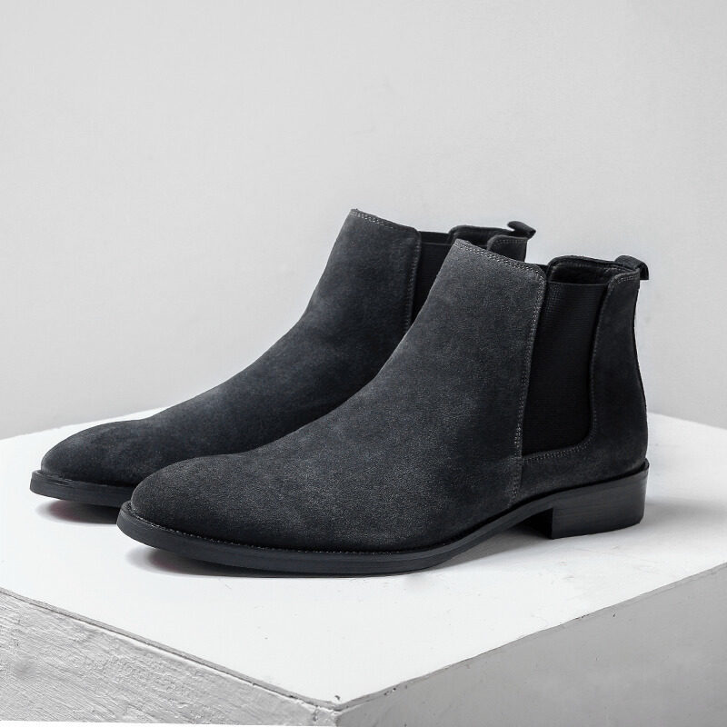 Winter Vintage Men Chelsea Boots High Quality Leather Side Zip Ankle Boots Fashion Pointed Toe Warm Plush Slip On Booties 38-44
