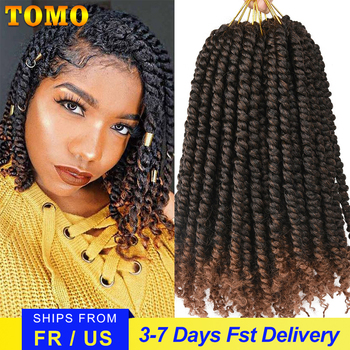 TOMO Bomb Twist Crochet Hair Synthetic 16Roots Spring Twist Pre Looped Crochet Braids Hair Extension Passion Twist for Women 1