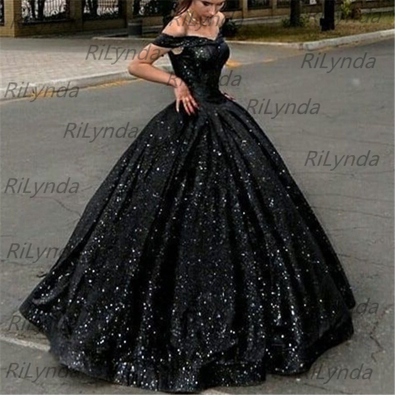 New Ball Gown Evening Dresses Sweetheart Bling Off Shoulder Long Formal Dress Gala Customized Women Party Gowns