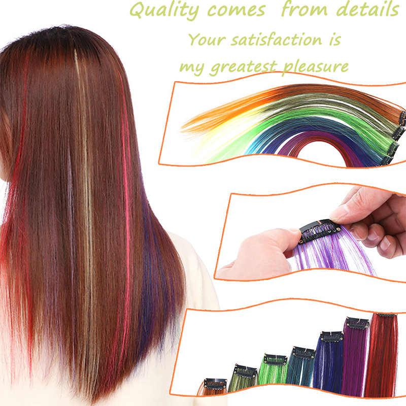 Ailiade 22 Inch Nhiều Màu Chịu Nhiệt Tổng Hợp Làm Tóc Kẹp Trong Một Bộ Ombre Thẳng Giả Tóc Rainbow