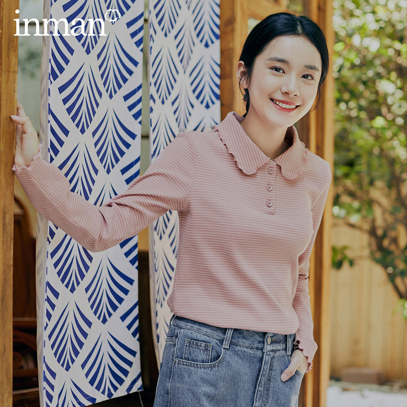 INMAN 2020 Spring New Arrival Literary Lapel Open-button Micro-elastic Knitted Long Sleeve T-shirt