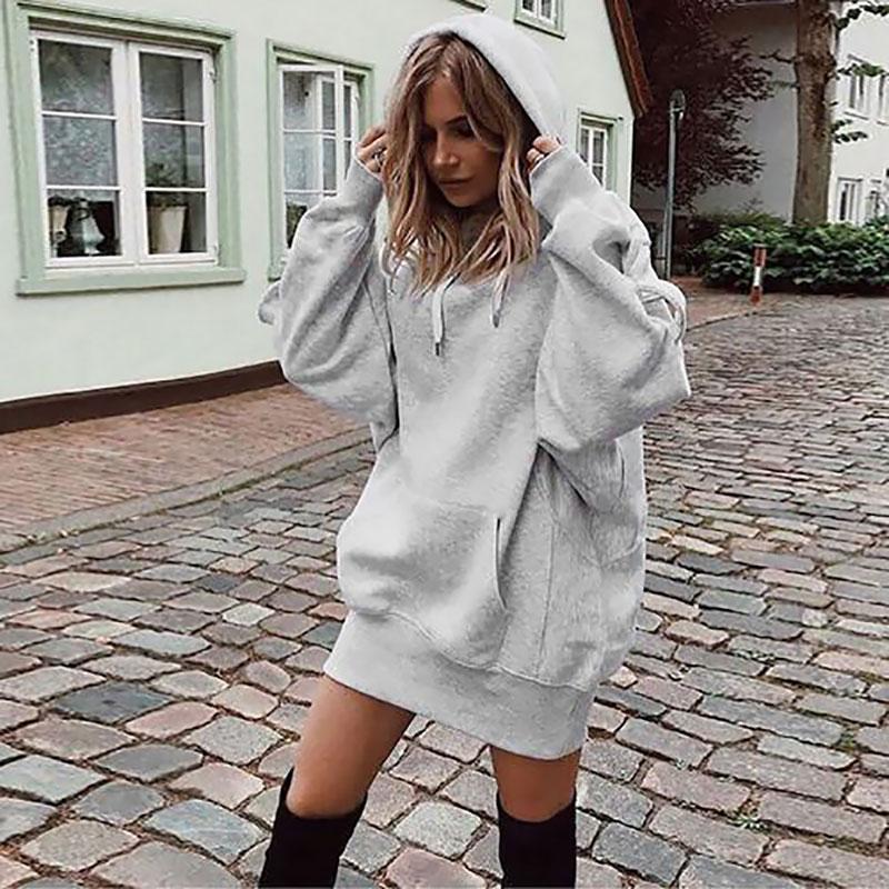 Women Hoodies Sweatshirt 2019 Autumn Sweatshirts Dress Women Cotton Pullover Long Sleeve Women's Fashion Hoodies Dress Ladies
