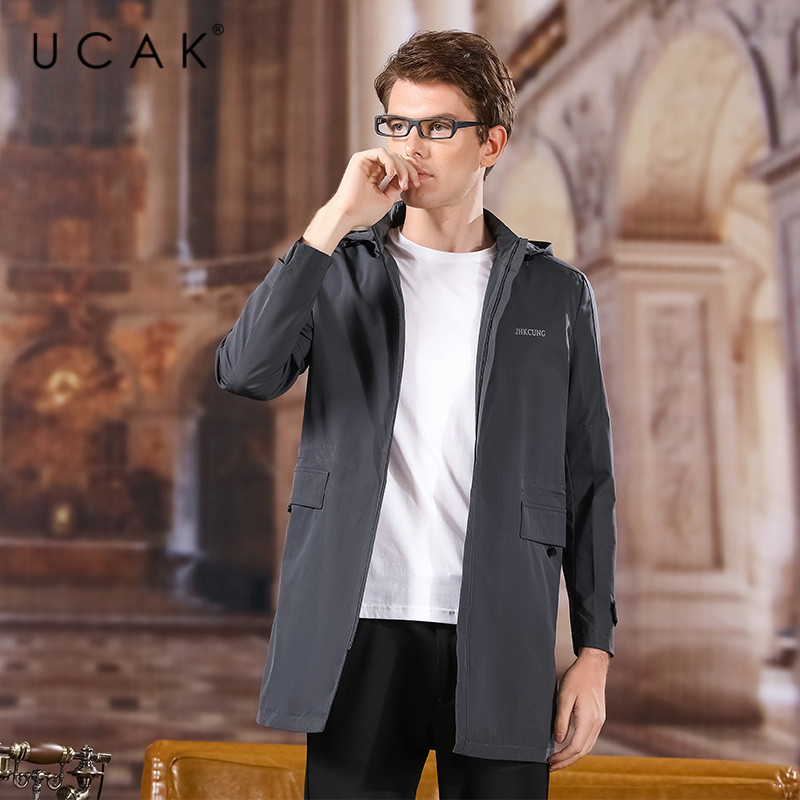UCAK Brand Polyester Jacket Men 2020 Spring New Arrival Casual Solid Pockets Chamarra Para Hombre Hooded Long Outwear Men U8032