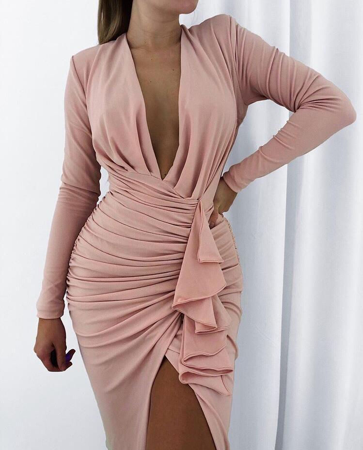 2020 New Arrival Women Sexy V Neck Rushed Pink Party Dress Night Club Jag Designer Celebrity Vintage Dress Vestidos