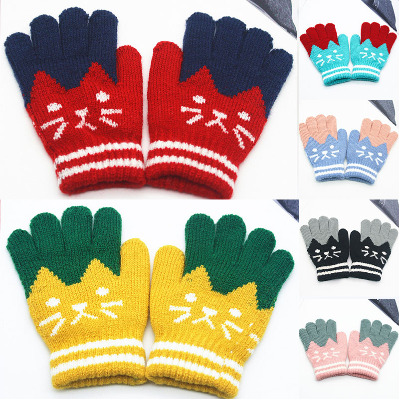 2019 Winter Fashion Touch Screen Gloves Women Girl Cute Cartoon Cat Printed Wool Knitted Full Finger Mittens For Girls Christmas
