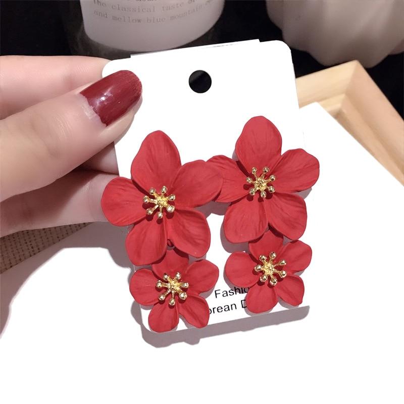 Double Flower Earrings Trendy Pink Flowers studs Earrings For Women Wedding Party Jewelry Boho Metal Earrings Female