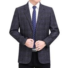 Men Blazer Coat Suits Jacket Americana Long-Sleeve Plaid Business Male Casual Masculino