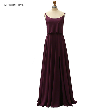 2019 Purple Long Bridesmaid Dresses Sexy Split Bohemian Summer Beach Wedding Party Dresses Special Occasion Dresses for Woman