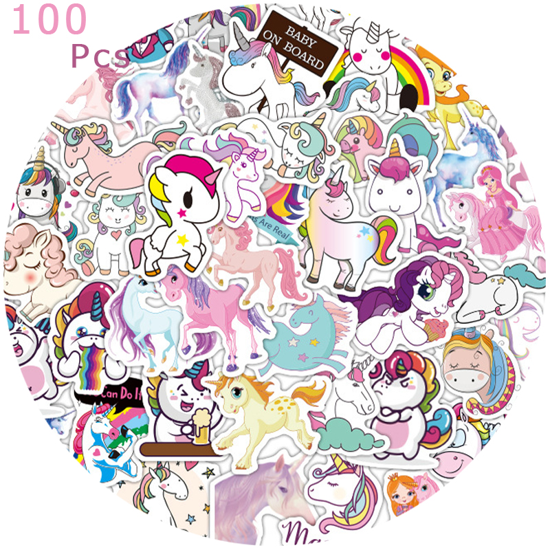 50/100Pcs Stickers for Unicorn Cartoon Animal Waterproof Cute Graffiti Sticker To DIY Luggage Bike Notebook Laptop Guitar Decals