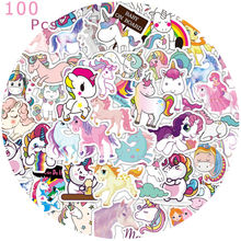 50/100Pcs Stickers for Unicorn Cartoon Animal Waterproof Cute Graffiti Sticker To DIY Luggage Bike Notebook Laptop Guitar Decals